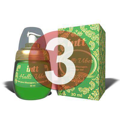 KIT03 - Halls Viber - gel sexo oral comestível 4 em 1 extra forte (lubrifica, esquenta, esfria e vibra) - 30 ml