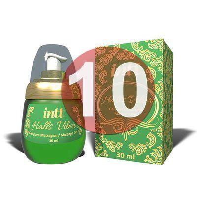KIT10 - Halls Viber - gel sexo oral comestível 4 em 1 extra forte (lubrifica, esquenta, esfria e vibra) - 30 ml