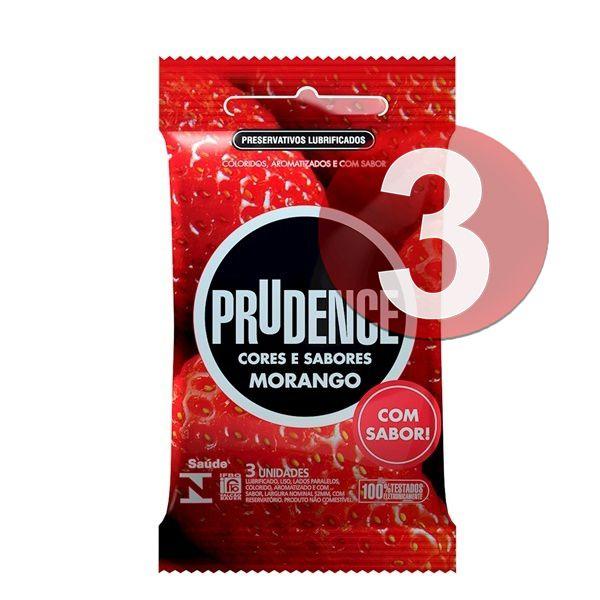 KIT03 - Preservativo camisinha prudence sabor morango - 3uni