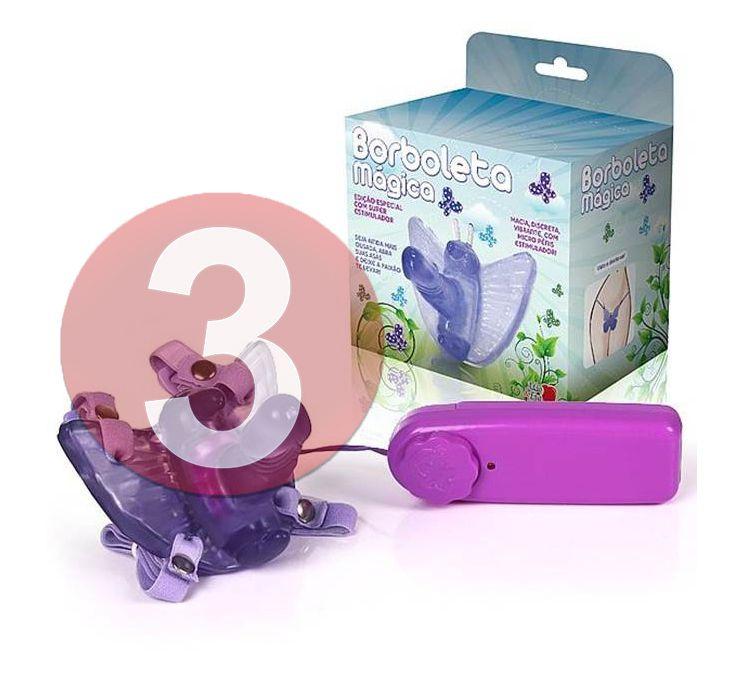 KIT03 - Borboleta vibradora com mini pênis lilas
