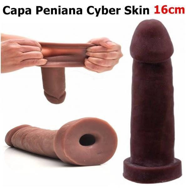 Capa peniana cyber skin 16x3.5cm - cor chocolate
