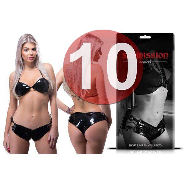 KIT10 - CONJUNTO DE SHORT E TOP EM VINIL