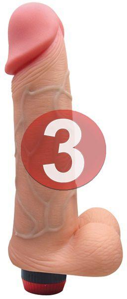 KIT03 - Pênis realístico  18 x 3.5 cm - cor bege