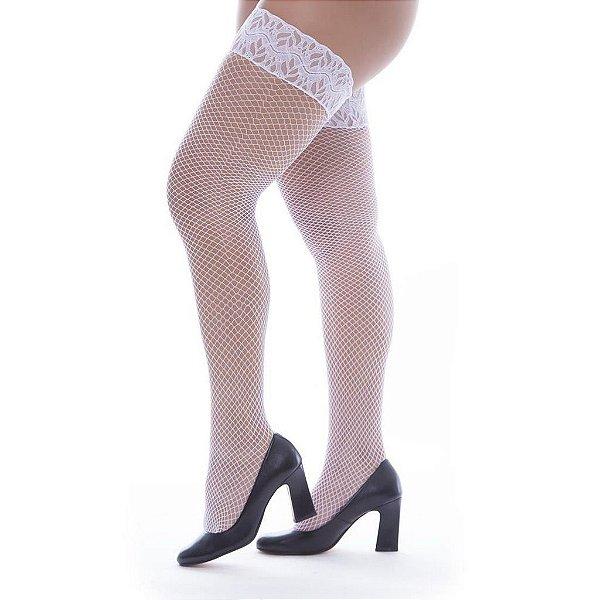 Meia calça arrastão com pé 7/8 - cor branca