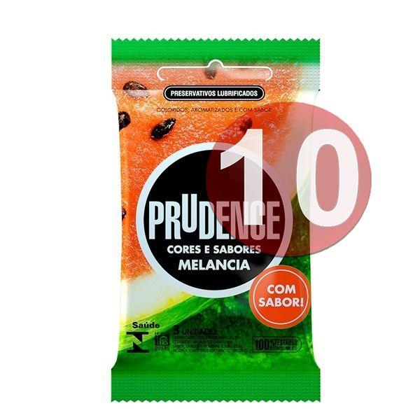 KIT10 - Preservativo camisinha prudence sabor melancia - 3uni