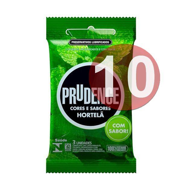KIT10 - Preservativo camisinha prudence sabor hortelã - 3uni