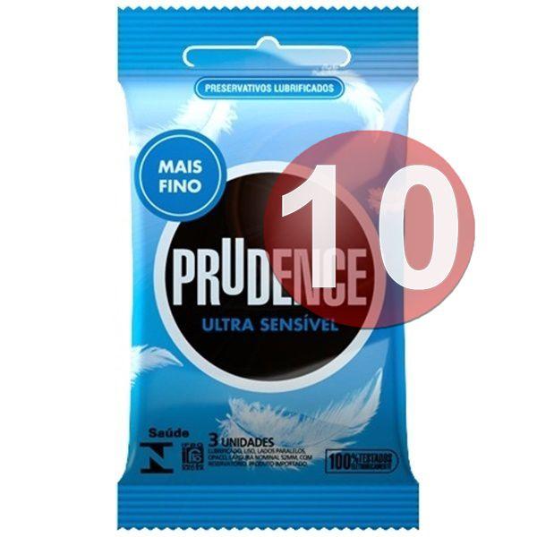 KIT10 - Preservativo camisinha prudence ultra sensível sensitive - 3uni