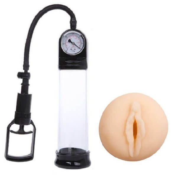 Vaccum Adsorption - bomba peniana de sucção manual com manopla, manômetro e anel em cyberskin - 29 x 6,5 cm
