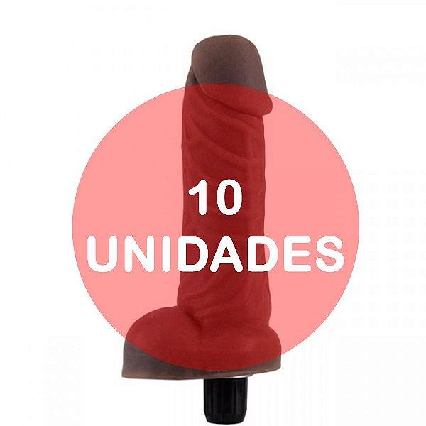 KIT10 - Pênis com escroto vibrador cyber skin 15x3.5cm - cor chocolate