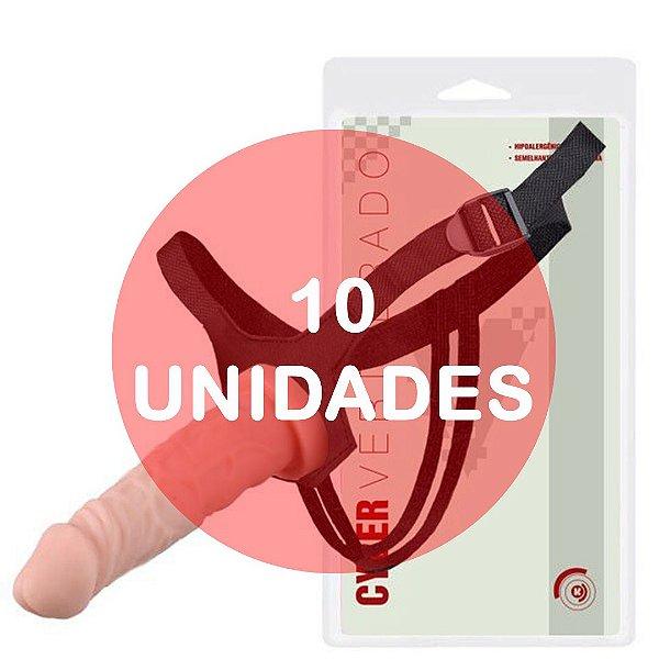 KIT10 - Cinta com pênis strapon cyber skin vertebrado com fixador 18x4cm