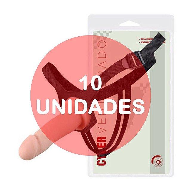KIT10 - Cinta com pênis strapon cyber skin vertebrado com fixador 16x3.5cm