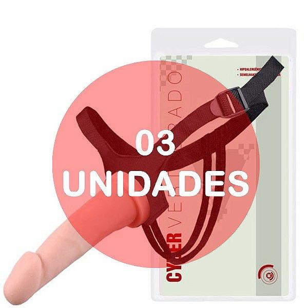 KIT03 - Cinta com pênis strapon cyber skin vertebrado com fixador 19x4.5cm