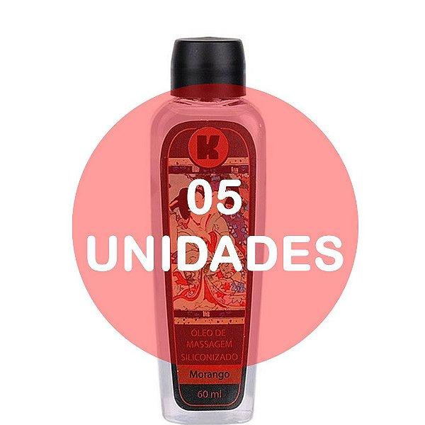 KIT05 - Óleo de massagem siliconizado provoca leve aquecimento relaxante - 60ml - fragrância morango
