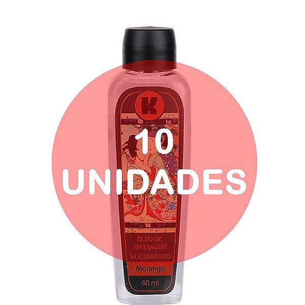 KIT10 - Óleo de massagem siliconizado provoca leve aquecimento relaxante - 60ml - fragrância morango