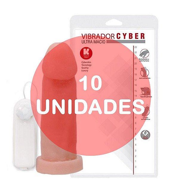 KIT10 - PÊNIS REALÍSTICO VERTEBRADO VIBRADOR CYBER SKIN 19 x 5 CM - COR BEGE