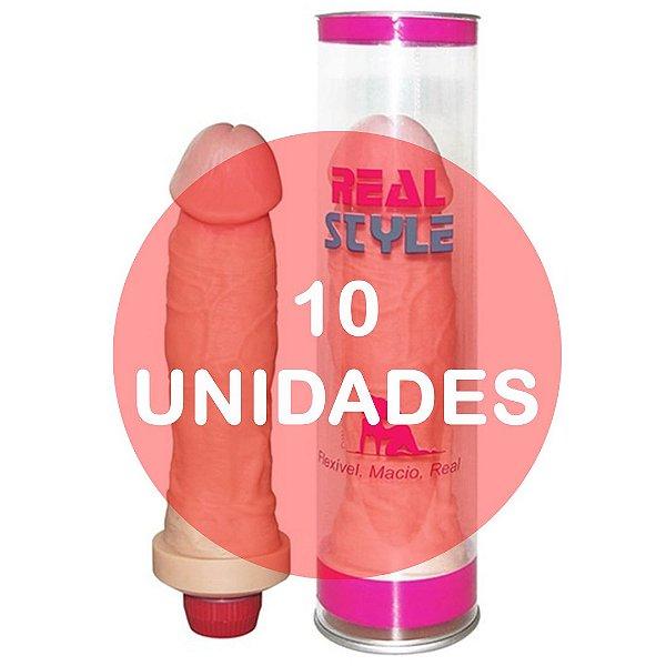 KIT10 - Pênis com vibrador 20 cm (ideal para presente) - Real Style