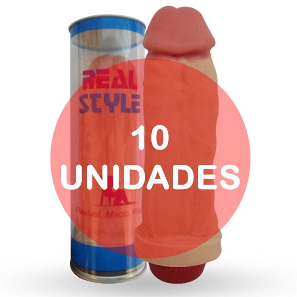KIT10 - Pênis realístico - larger com vibrador - 18 x 5 cm (ideal para presente)