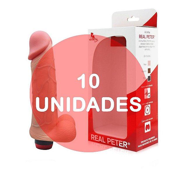 KIT10 - Pênis realístico  18 x 3.5 cm - cor bege