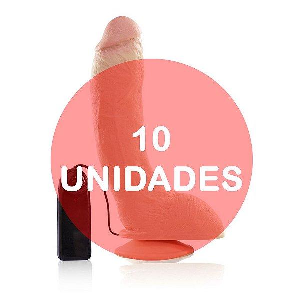KIT10 - PÊNIS REALÍSTICO VIBRADOR E VENTOSA - 23 x 5 cm - BEGE - RAMBO