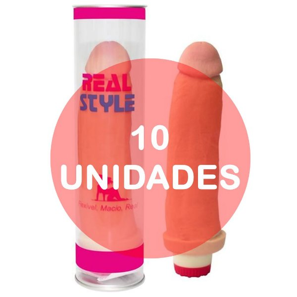 KIT10 - Pênis com vibrador - 19 x 4.5 cm (ideal para presente) - Real Peter Taurus