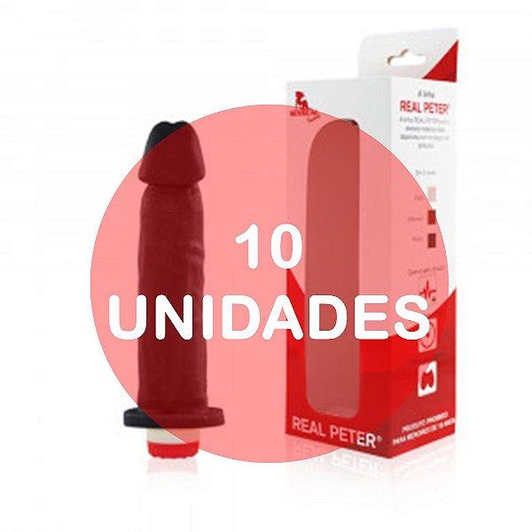 KIT10 - PÊNIS REALÍSTICO COM VIBRADOR - 18x4cm - COR PRETA