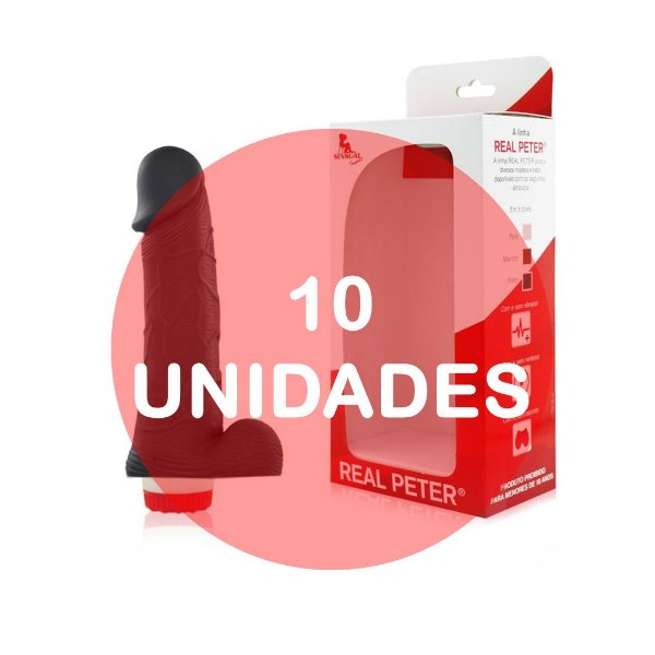 KIT10 - Pênis realístico  18 x 3.5 cm - cor preta
