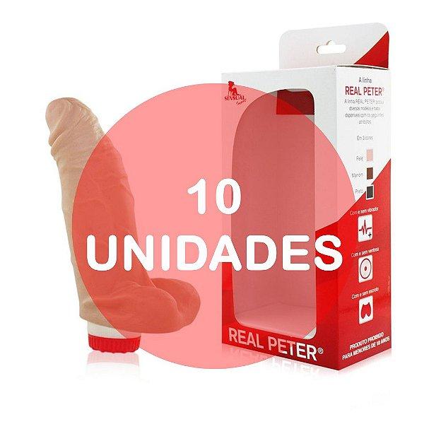 KIT10 - SACANA - PRÓTESE REALÍSTICA EM FORMATO DE PÊNIS COM GLANDE DEFINIDA, VEIAS E ESCROTO -  12x4,5 CM | COR: BEGE