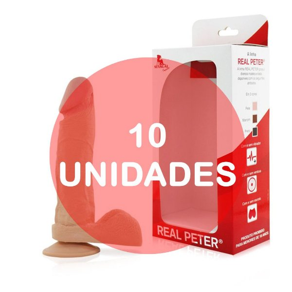 KIT10 - Pênis realístico com ventosa 19x4,5cm - cor bege