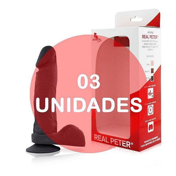KIT03 - Pênis realístico com ventosa 19x4,5cm - cor preta