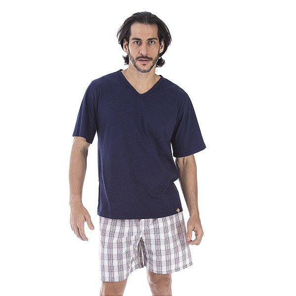 b65637dab Pijama Masculino Com Short em Tricoline - Inspirate