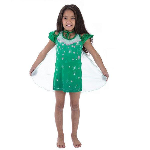 32d48fec0 Camisola Infantil Princesa Disney Fronzen Fever Verde com Capa ...