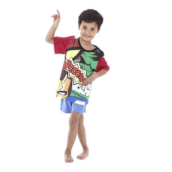 3fbccf816 Pijama Infantil Masculino Curto de Verão Super Heróis - Inspirate ...