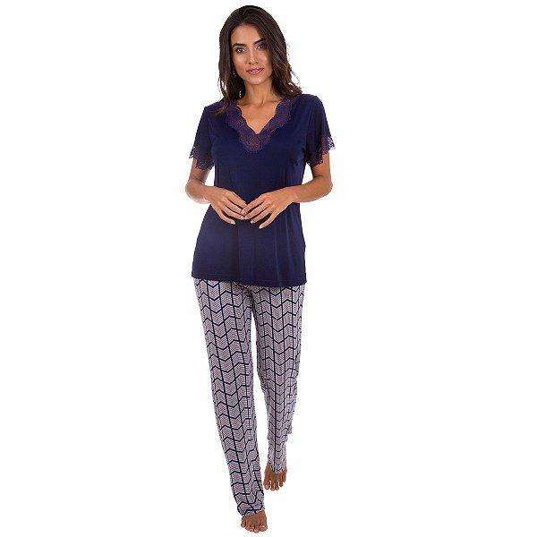 caecfdd09 Pijama Feminino Longo com Calça Estampada - Inspirate