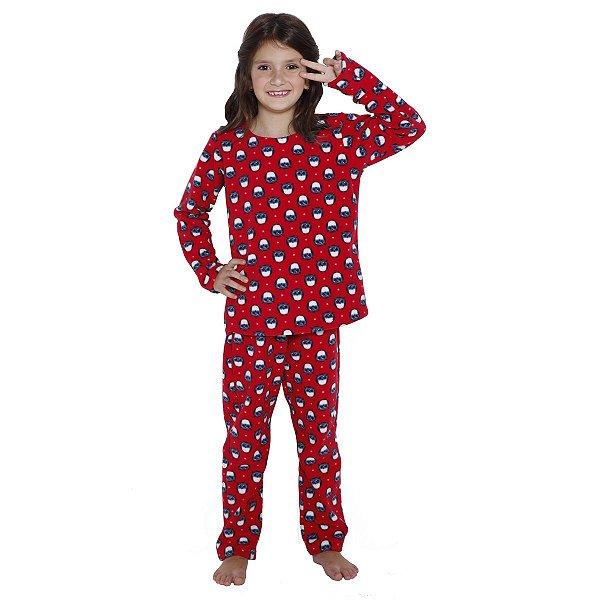 08f634f68cadb7 Pijama Infantil Corujinha Soft de Inverno