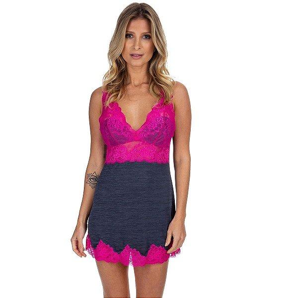 Camisola Curta em Poliamida Carbono com Renda Pink