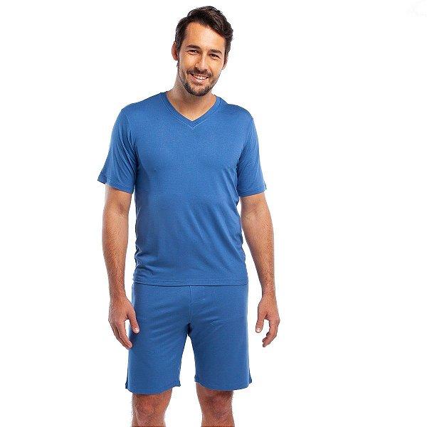 Pijama Masculino Curto Liso Azul Claro