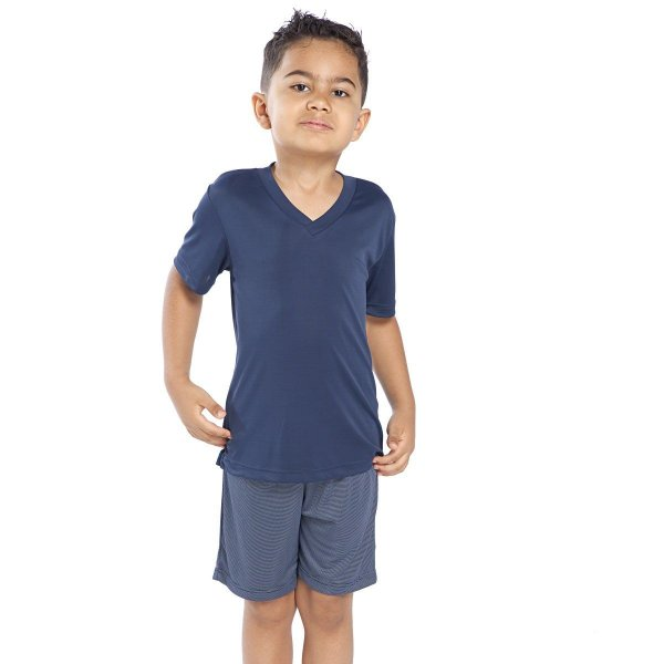 Pijama Curto Infantil Masculino de Poliamida Azul Micro Line