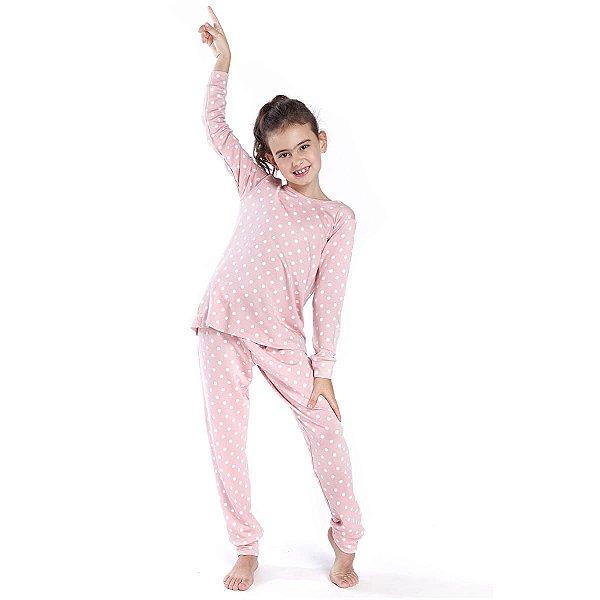 Pijama Infantil Feminino de Inverno Poá Rosa