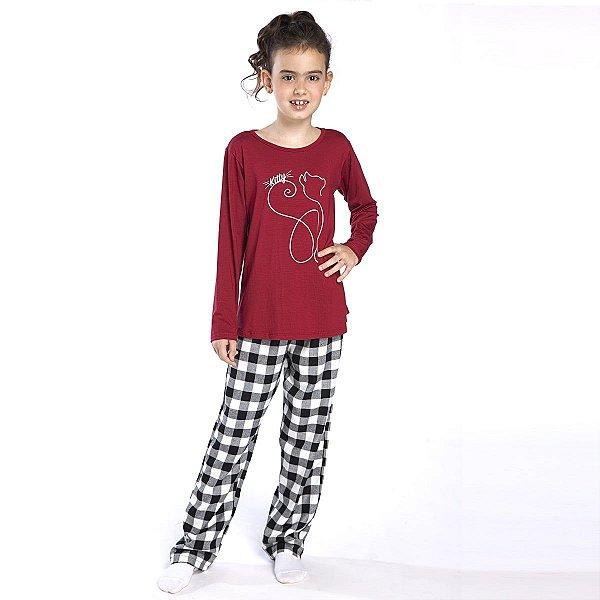 Pijama Infantil Feminino de Inverno Xadrez