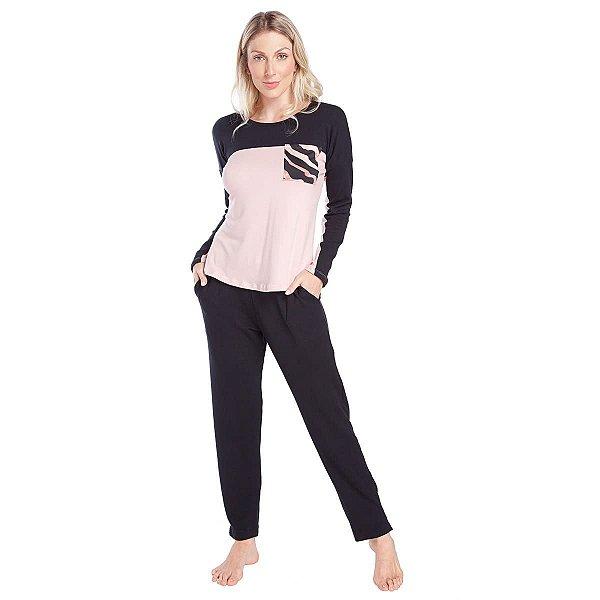 Pijama Feminino de Inverno Moletinho Preto e Rosê