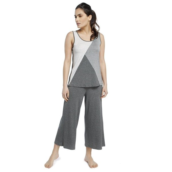 Pijama Feminino Pantacourt Regata em Tons de Mescla