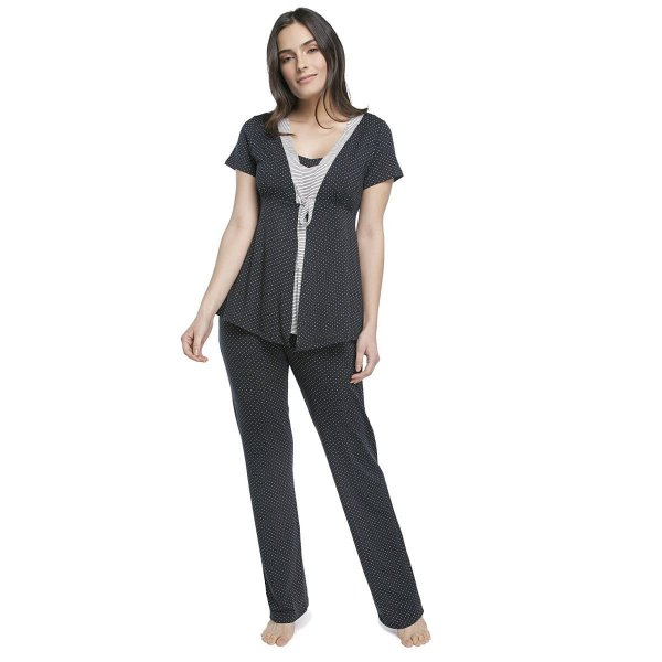 Pijama Feminino Gestante Triplex Preto com Poá