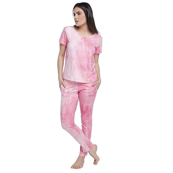 Pijama Feminino com Bolso Tie Dye Rosa