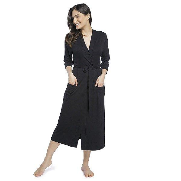 Robe Feminino Midi Preto com Bolso
