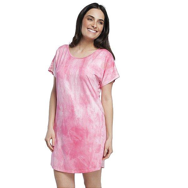 Camisão Feminino Manga Curta Tie Dye Rosa