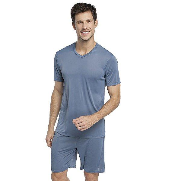 Pijama Masculino Curto Azul Denim