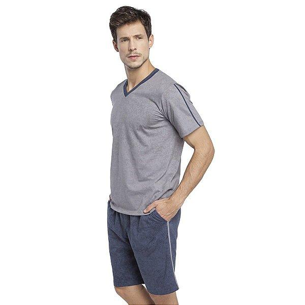 Pijama Masculino Curto Azul e Cinza Stone