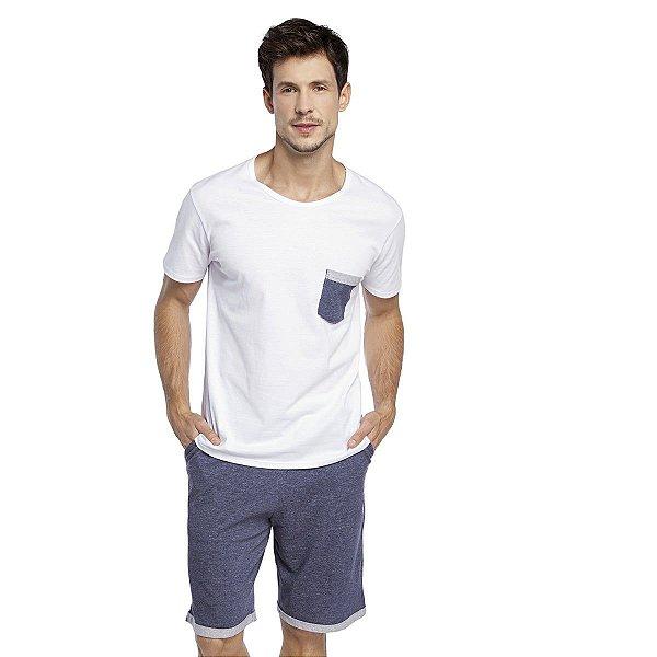Pijama Masculino Curto Jeans e Branco