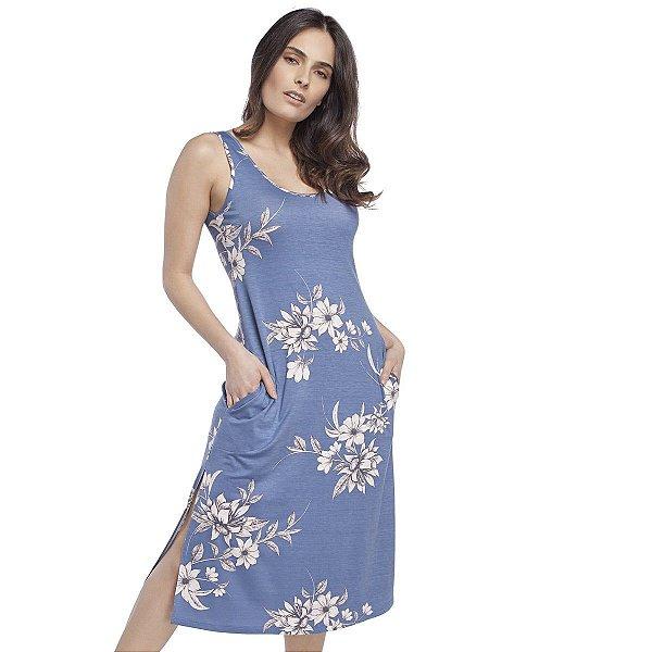Camisola Regata Midi com Fenda Azul Max Garden