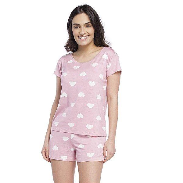 Pijama Feminino Curto Rosa Hearts